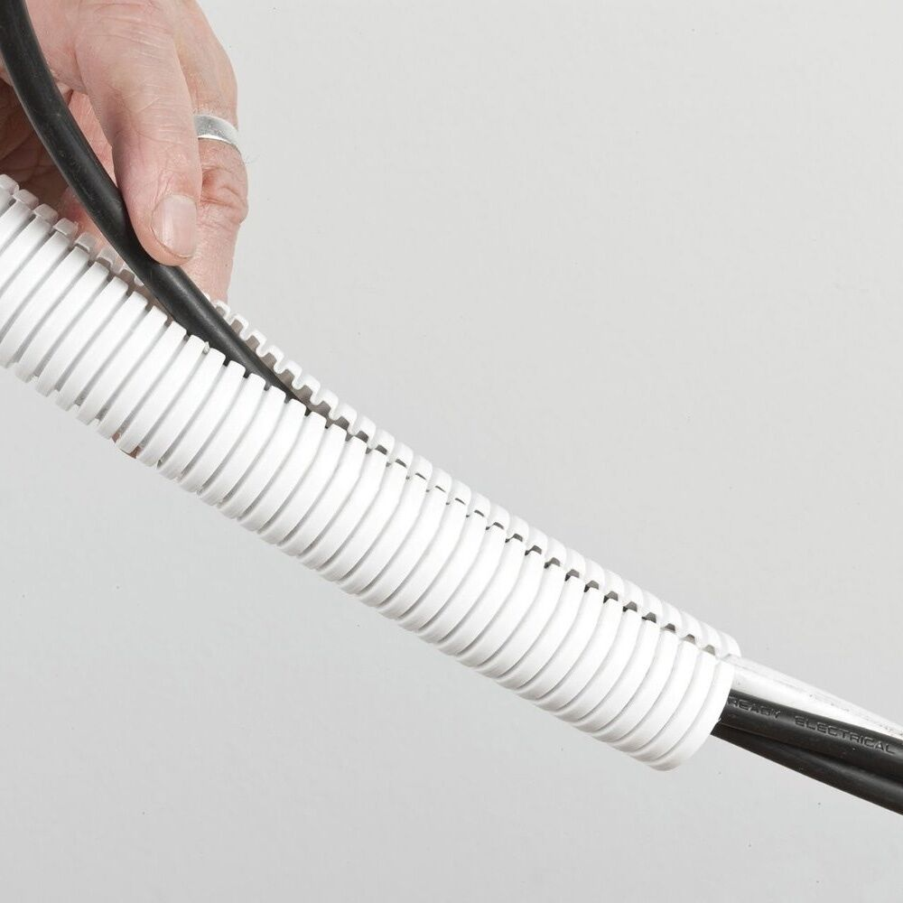 New cable tidy white 20mm 10 metre polypropylene, office, hide from animals, car