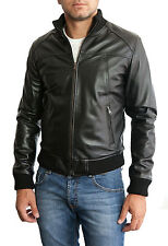 Giacca Giubbotto Uomo in di PELLE 100% Men Leather Jacket Veste Homme Cuir 3s4