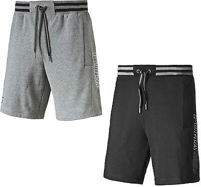 Herren Puma Lang Baumwolle Sweat Shorts Hose Grau Schwarz
