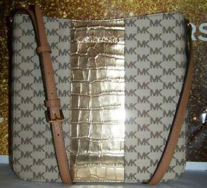 8bb7c38a9093b2 MICHAEL KORS NWT CENTER STRIPE LG MESSENGER GOLD CROSSBODY SHOULDER ...