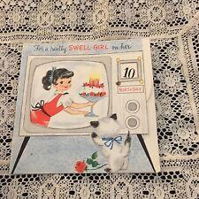 Vintage Greeting Card Birthday Cute Girl TV Cat Hallmark