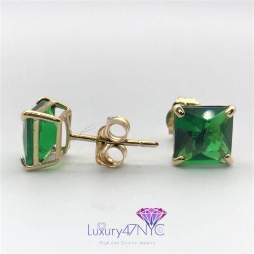 1.5 CT Princess Cut Green Emerald Stud Earrings Real 14K Solid Yellow Gold