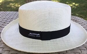 ecc1feb24 Details about PANAMA JACK WHITE STRAW CLISSICO GOLF OUTDOORS SUN PROTECTION  HAT S/M Flexible