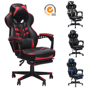 GAMING-CHAIR-RACING-COMPUTER-LEATHER-HIGH-BACK-RECLINER-OFFICE-DESK-SWIVEL-SEAT