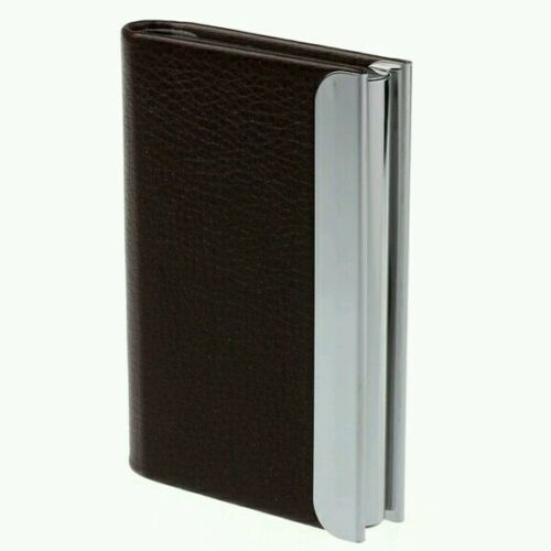 Fashion Men Lichee Pattern Brown Leather Business Id CreditCard Holder Case Wall