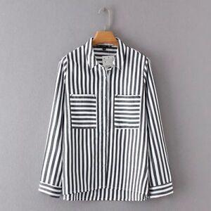 Venta barata elegir original obtener online Detalles de Blusa Camisa Suéter Mujer Manga Larga Negro Blanco Rayas 4517