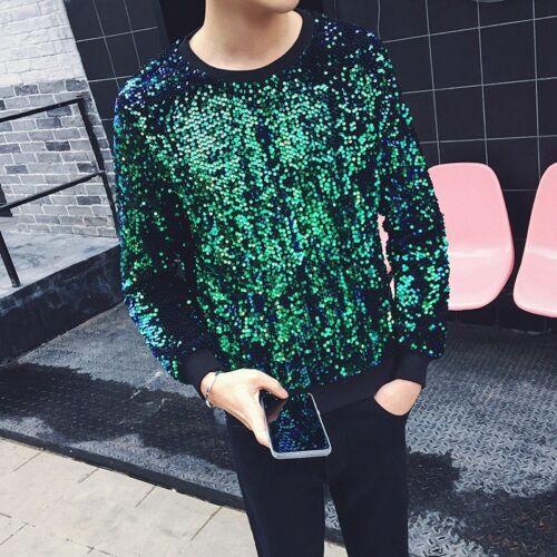 Hommes élégant Paillettes Glitter Sweats Veste Casual Body Pull Clubwear Manteau