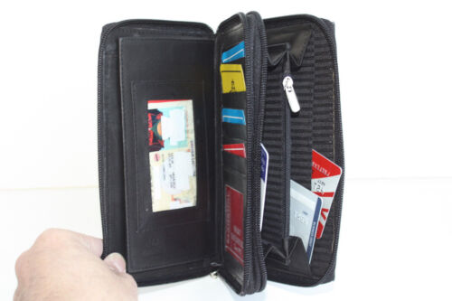 GENUINE LEATHER CHECKBOOK ZIP AROUND WOMEN CLUTCH WALLET CARD ORGANIZER