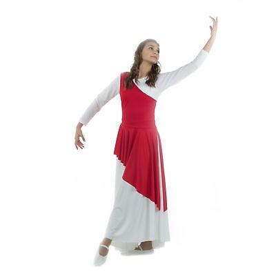 Danzcue Asymmetrical Praise Dance Tunic with Side Slits Scarlet L-XL-Adult