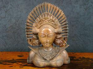 DEWI-Kinnari-BUSTE-Thailand-Deko-Schnitzfigur-Skulptur-Statue-Asiatika-hh0dew1