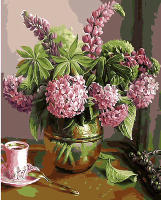 "16x20"" DIY Acrylic Paint By Number kit Oil Painting On Canvas Flowers Vase 1405"