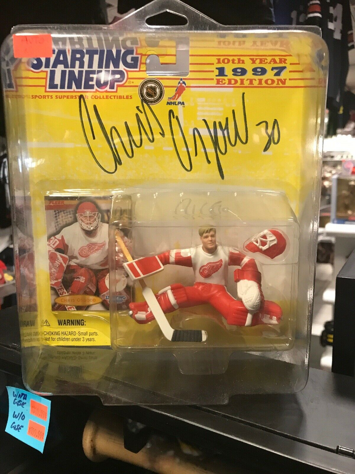 1997 CHRIS OSGOOD SIGNED rookie SLU Detroit rosso Wings  wprossoective dome COA