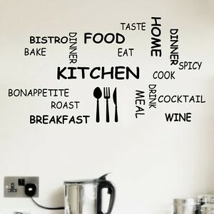 Kitchen-Parole-Frasi-Wall-Art-Sticker-Preventivo-Decalcomania-Murale-Stencil-trasferimento-Decor