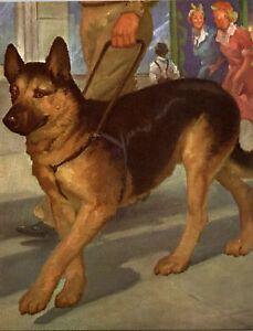 German-Shepherd-Service-Dog-Leading-Man-Dog-Wesley-Dennis-Book-plate-print