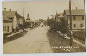 1912-Schleisingerville-SLINGER-Wisconsin-Main-Street-Real-Photo-Postcard-RPPC