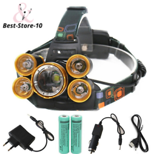 Rechargeable 20000lm Zoomable headlight 5xT6 LED headlamp Hunting fishing Led