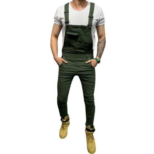Men Denim Dungarees Bibs Overalls Pants Suspender Jumpsuit Jeans Trousers Casual
