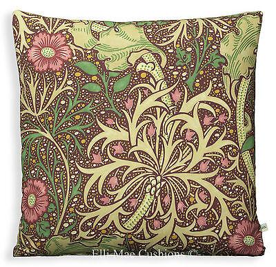 William Morris Seaweed Fabric Designer Cushion Pillow Cover Aubergine Red