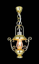 1:12 Scale Working Dolls House Miniature Gold Coloured Hanging Chain Lamp 5042