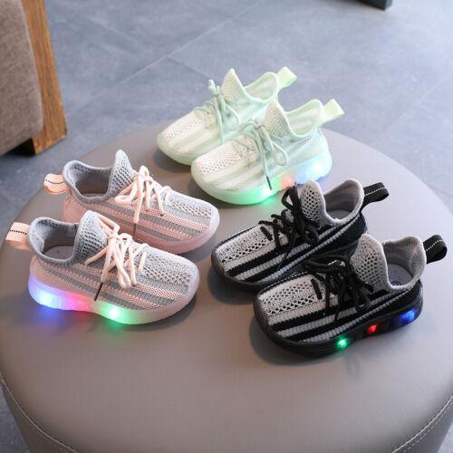 Children Kids Baby Girls Boys Led Light Luminous Sport Run Sneakers Mesh Shoes