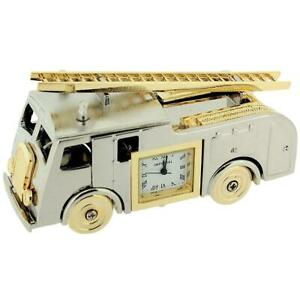 Miniature-Novelty-Collectors-Two-Tone-Metal-Fire-Engine-Desktop-Clock-IMP1064AL