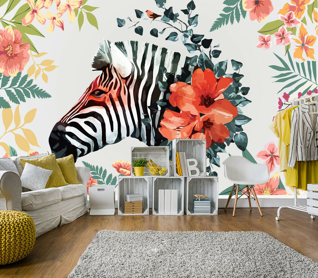 3D Zebra Flowers I202 Wallpaper Mural Sefl-adhesive Removable Sticker Wendy