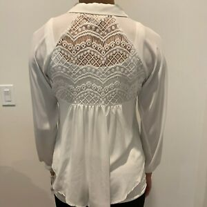 NWT-Anthropologie-Philosophy-Cream-Women-039-s-Lace-Button-Down-Blouse-Top-Size-XS