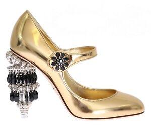 3dfb7ef494 NEW  2600 DOLCE   GABBANA Shoes Leather Gold Crystal Chandelier Heel ...