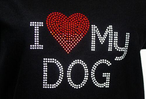 I LOVE MY DOG  Rhinestones Iron on Transfer Hot Fix NO SHIRT