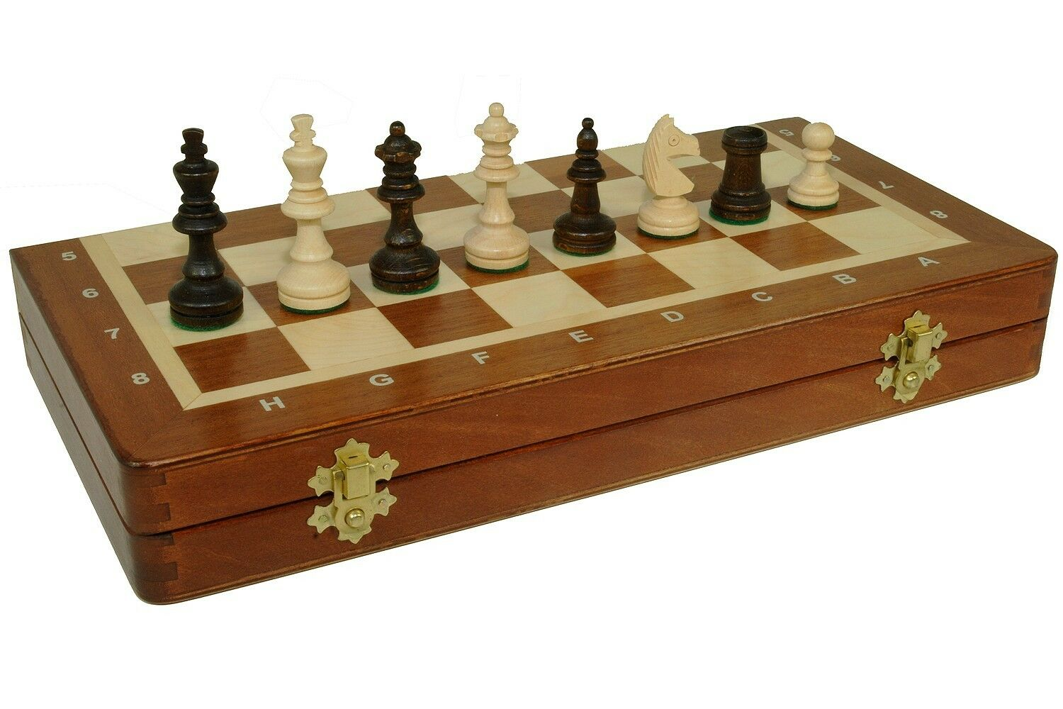 WOODEN MEDIUM HAND CRAFTED CHESS -WOOD -SET -BOARD INLAID