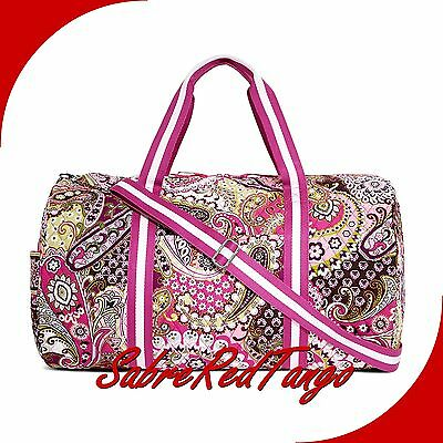 NWT VERA BRADLEY QUILTED ROUND DUFFEL TRAVEL BAG FLORAL VERY BERRY PAISLEY