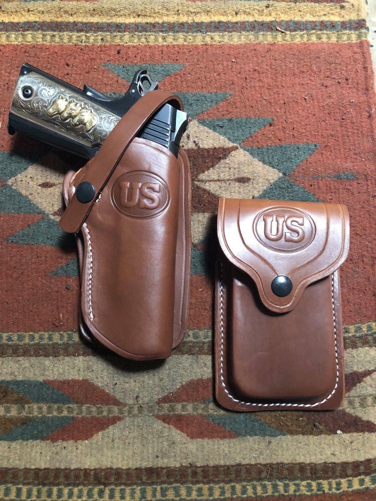 Se adapta a Colt RIA Springfield Ruger Govt 1911 & Funda De Cuero Occidental M bolsa del Mag