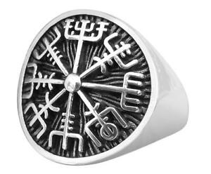 Sterling-Silver-925-Vegvisir-Asatru-Compass-Ring-Brand-New