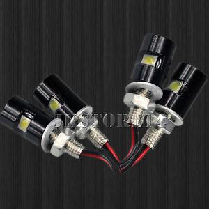 4Pack White LED SMD Motorcycle&Car License Plate Screw Bolt Light lamp bulb