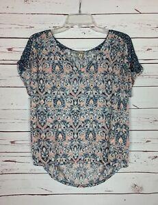 Lucky Brand Women's M Medium Blue Navy Short Sleeve Cute Spring Top Shirt Blouse