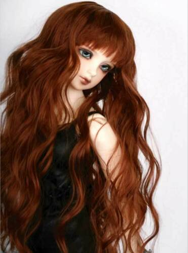 "6-7/"" 1//6 BJD Long Curly Light Powder Brown Wig LUTS Doll SD DZ DOD MSD Hair UAL#"