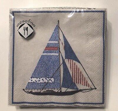 20 Luncheon Paper Napkins~Sailboat~Red Stripe~Beach~Decoupage~Ocean~Nautical~NEW