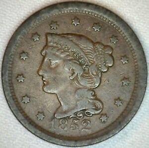1852-Braided-Hair-Liberty-Head-Large-Cent-US-Copper-Type-One-Cent-Coin-Fine-K34