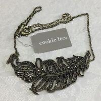 Cookie Lee Black Leaf Rhinestone Jewelry Necklace 82602 $39