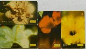 Malaysia-Used-Uniphone-Phone-Card-4-pcs-Hibiscus
