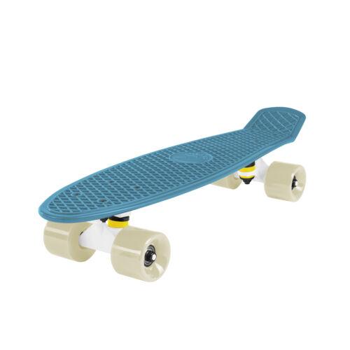 White Oceanic Mini Cruiser Complete Skateboard Cal 7 Retro Style 22 Inch Blue