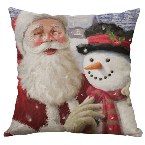 Christmas Car Cotton Linen Sofa Waist Cushion Cover Pillow Case Home Decor
