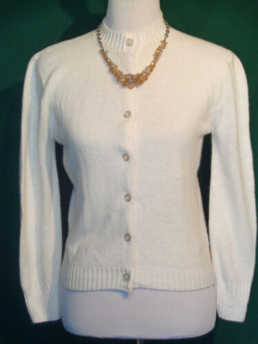 Vintage White Turbo Orlon Cardigan Sweater Hygrade