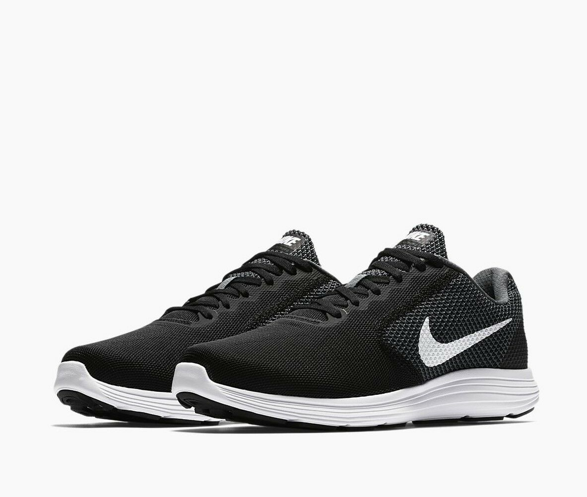 Nike Mens Revolution 3 Wide (4E) 819301 001 Dark Grey White Black Choose Size