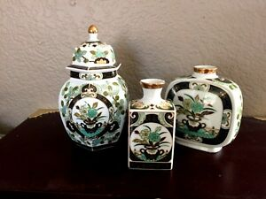 Gold-Trimmed-Floral-Japanese-Ginger-Jar-with-Lid-and-Vases-Green-White-Set-of-3