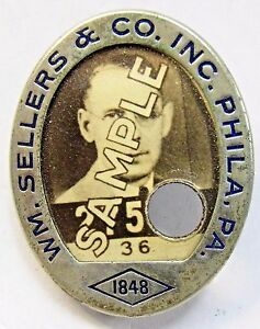WWII 1940's WM. SELLERS & CO. PHILADELPHIA PA. employee badge Home Front +