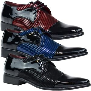 Mens-Patent-Leather-Contrast-Shoes-Wedding-Oxford-Lace-Up-Formal-Brogues