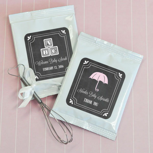 72 Personalized Chalkboard Baby Shower Hot Cocoa Mix Pouches Baby Shower Favors