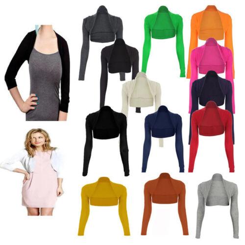 Nouveau Femme Plain Shrug Femmes Bolero Shrug Femmes Top Plus Taille 8-26