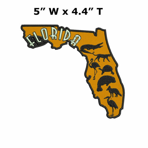 Sew-On Souvenir Applique FLORIDA STATE SHAPE Embroidered Patch Iron
